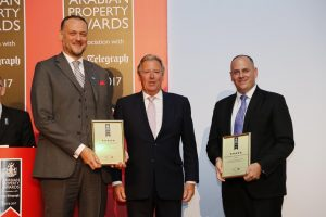 John Stevens, Managing Director, Asteco; Earl of Liverpool, Judging Panel Chairman; Sean McCauley, Director – Agency, Asteco, picking up the awards during the Africa & Arabia Property Awards 2016.