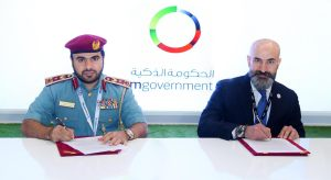 Brigadier Engineer Hussain Ahmad Al Harithi, Director-General of Electronics and Telecommunications Services, Ministry of Interior & Shukri Eid, Managing Director – East Region, Cisco Middle East sign MoU at GITEX 2016