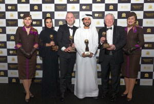 Mohammad Al Bulooki, Vice President, UAE & GCC Commercial; Amina Taher, Head of Communications and Calum Laming, Vice President Guest Experience, representing Etihad Airways at last night's World Travel Awards Middle East in Dubai. Pictured with Graham Cooke, President and Founder, World Travel Awards