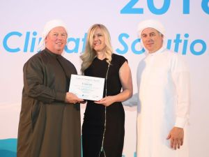 Sanela Habbab, COO of Emicool, receiving the Carbon Champion Award at IDEA Conference in Dubai