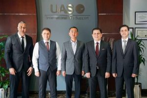 Mr Mohsen Felo, UAS Co-Owner/Founder; Mr. Omar Hosari, UAS Co-Owner/Founder and Chief Executive Officer; Mr. Zhang Peng, Deer Jet Chairman and CEO, Mr. Mohammed Husary, UAS Co-Owner/Founder and Executive President; Mr. Mike Mamoun Milli, UAS Co Owner/Founder