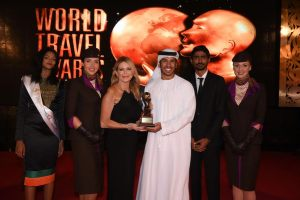 Linda Celestino, Etihad Airways' Vice President Guest Services and Abdulrahman Al-Hadhrami,Manager Marketing Communications, accept the awards for 'World's Leading Airline' and 'World's Leading Airline - First Class' during the 23th World Travel Awards held in the Maldives.