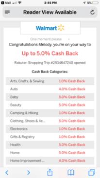Ebates/Rakaten Walmart savings