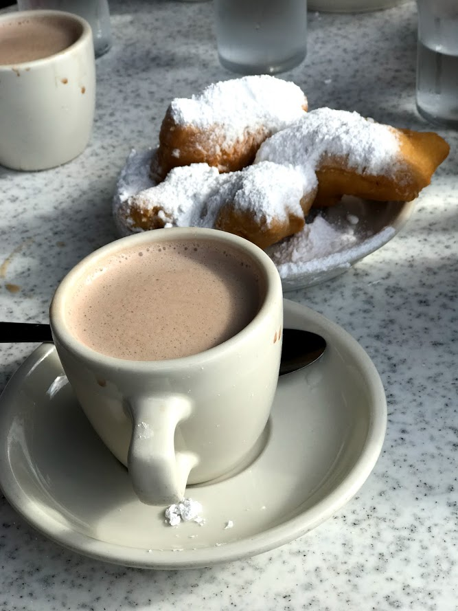 coffee and beignets from Cafe Du Monde in New Orleans