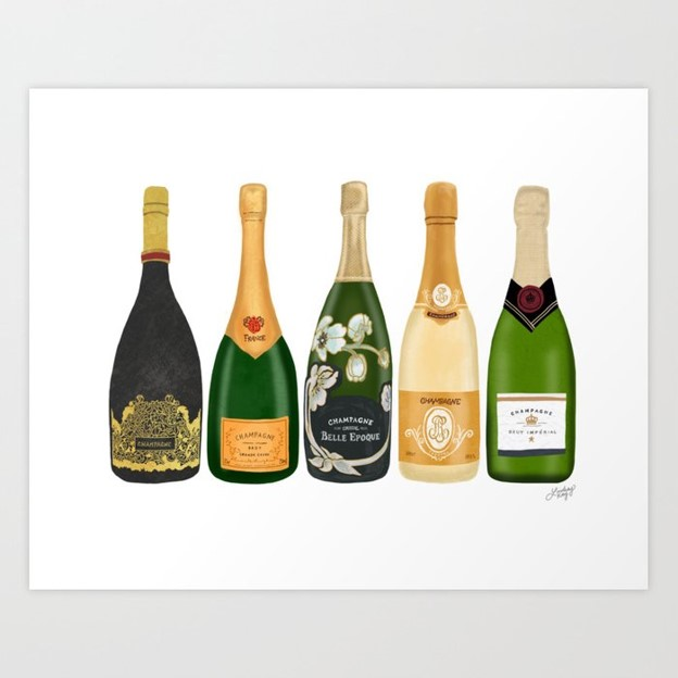 Champagne Bottle Art print by Lindsey Kay Co.