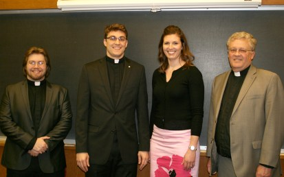(l-r) Thomas Presley, Daniel Ulrich, Katie Ulrich, Rev. Daniel Preus, Third Vice President, Central Region, The Lutheran Church--Missouri Synod