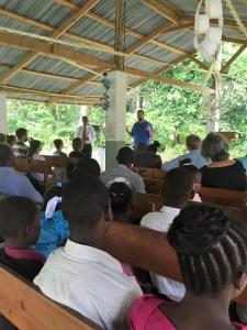 Open-air Lutheran church in rural area near Les Cayes, Haiti