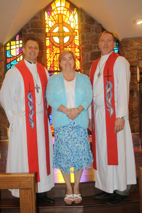 Pastor Clayton Sellers, Jenny Whitely, and Pastor Rob Harbin