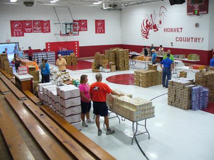 food distribution with sharps chapel