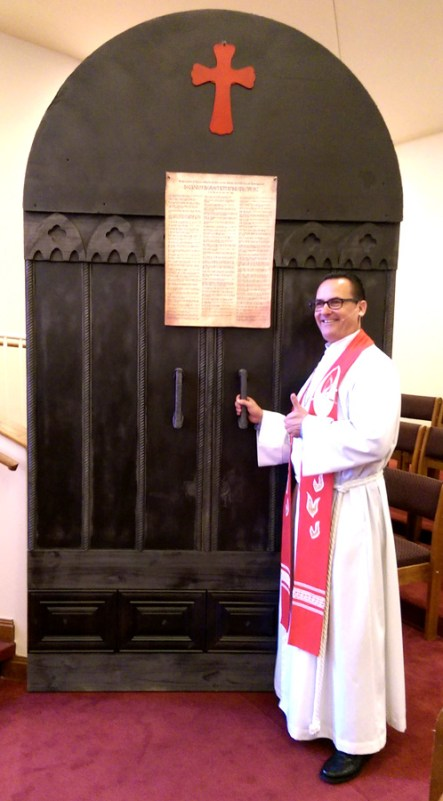 replica of the Castle Church door in Wittenberg, Germany where Luther posted his 95 theses