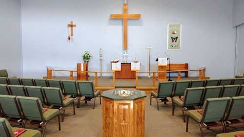 Font and alter at Praise Lutheran Church in Maryville, TN