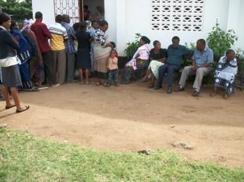 free eye clinic, people waiting