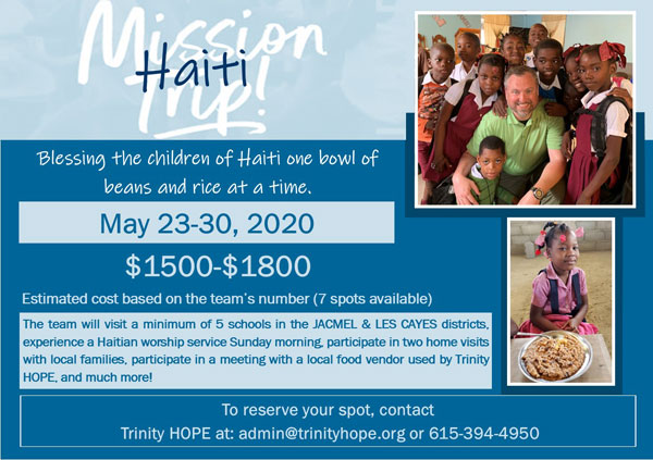 Haiti Mission Trip Dates for 2020-join Trinity Hope