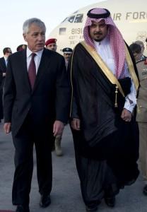לא כמו פעם; שר ההגנה צ'אק הייגל בביקור בסעודיה. צילום: משרד ההגנה האמריקני,