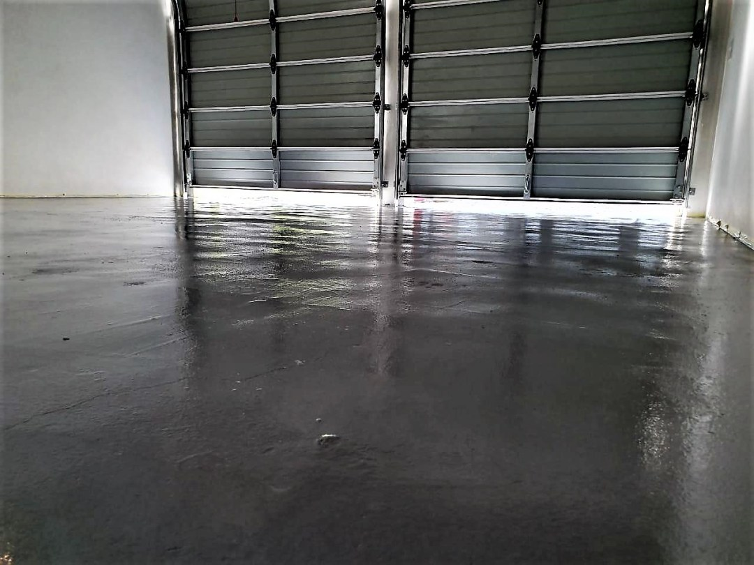 Image of floor painted with Alcolin Water Based Epoxy Floor Paint