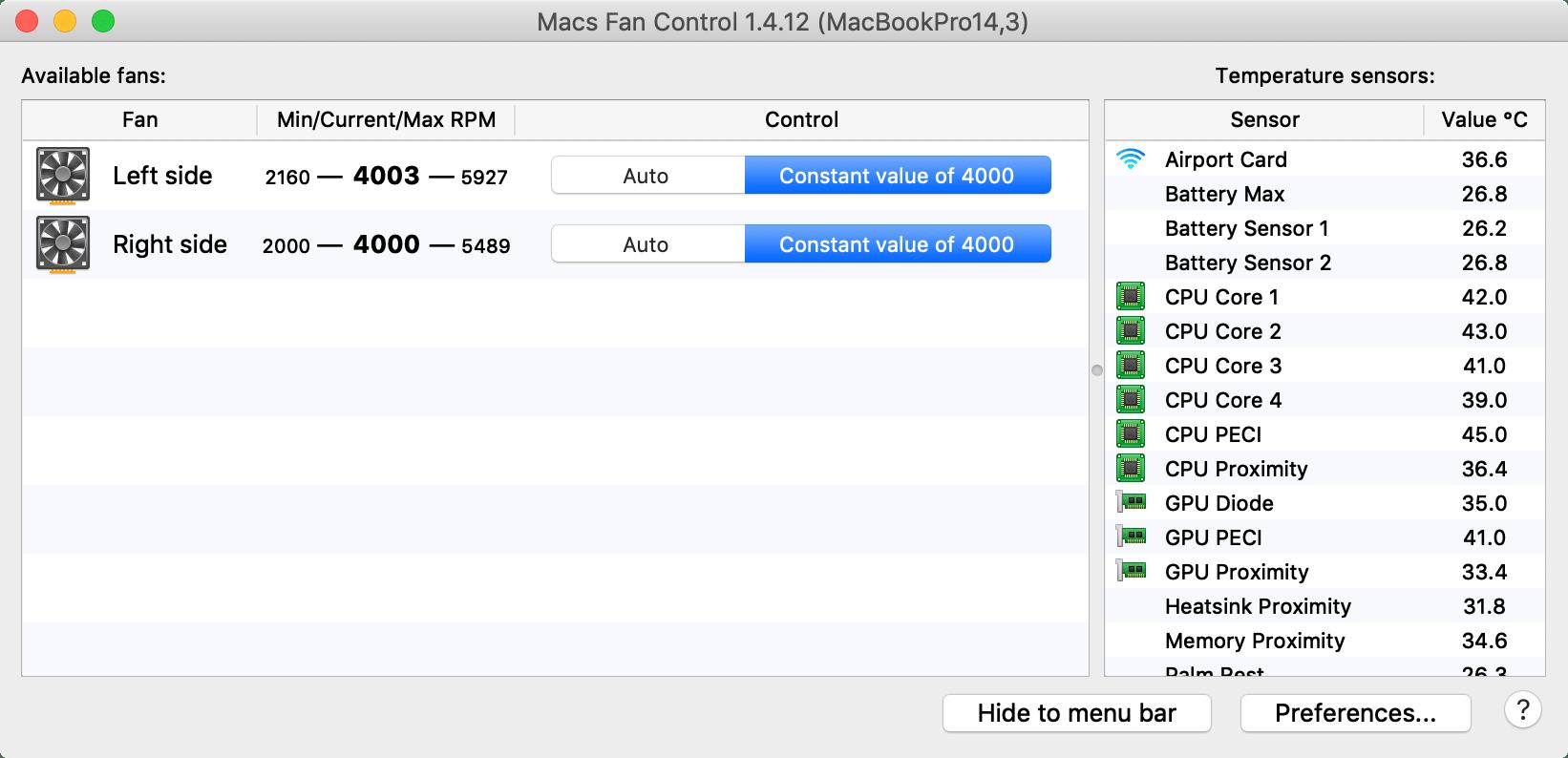 Manually set your Mac's cooling fan speeds with Macs Fan