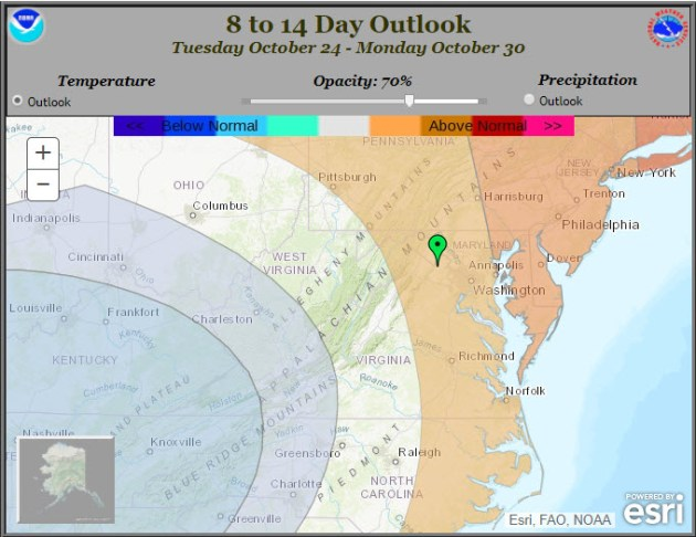 8 to 14 Day Temperature Outlook for the Mid Atlantic Region