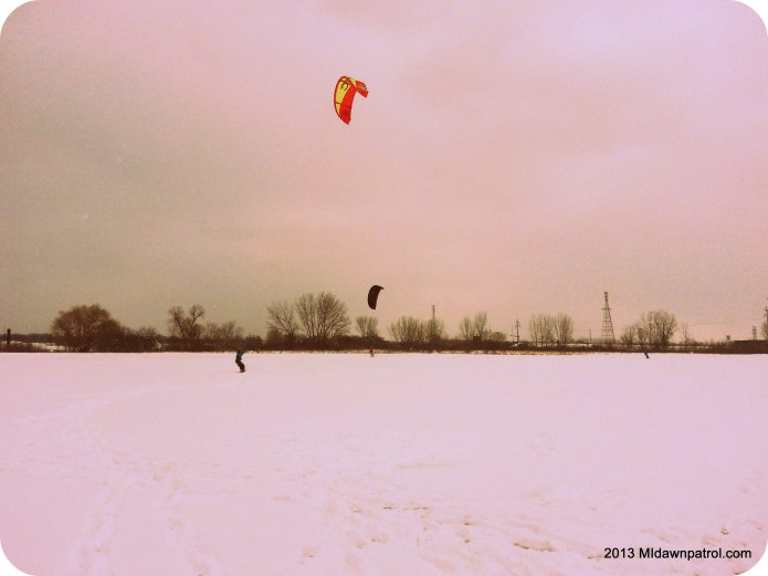 Snowkiting in Grand Haven Michigan