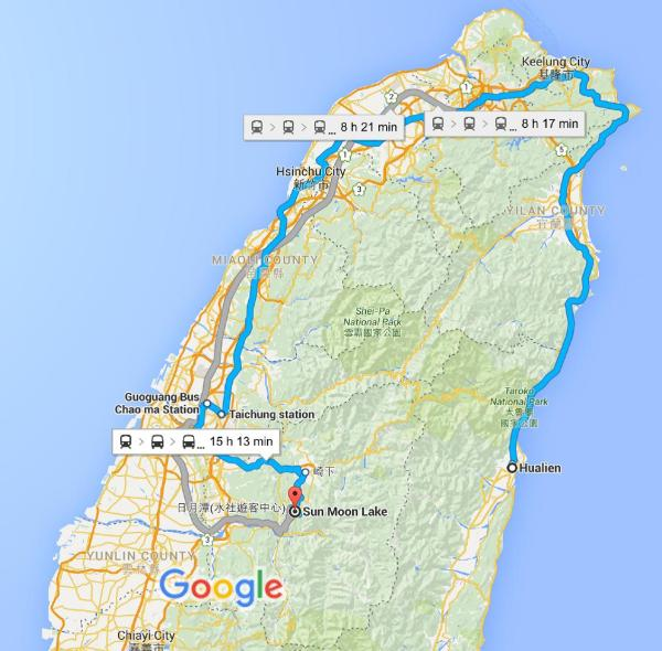Map Hualien to Sun Moon