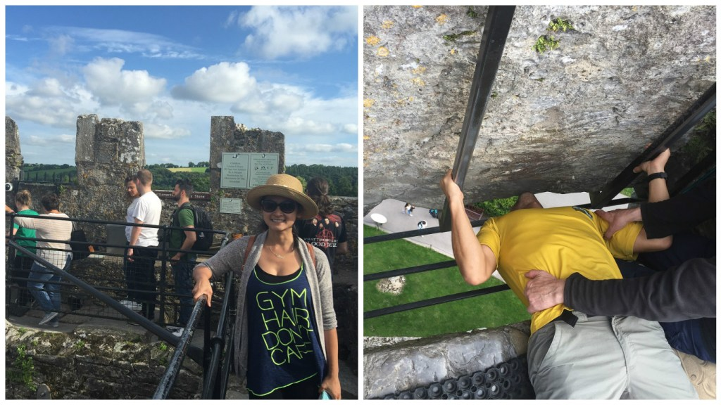 Left: Top of Blarney Castle; Right: Kissing the Blarney Stone
