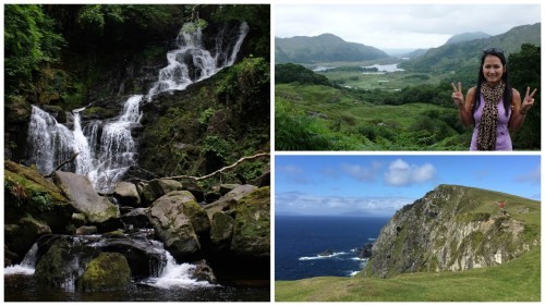 Left: Torc Waterfall; Right-top: Lady's View; Right-bottom: Bray Head