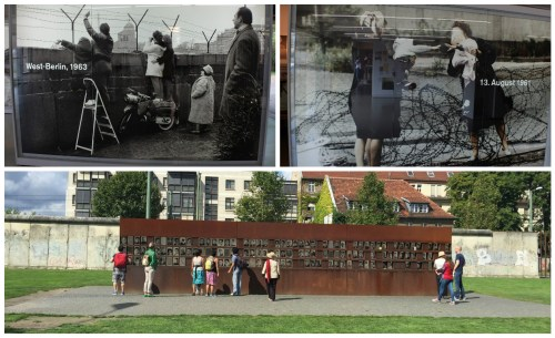Top: photos from Documentation Center; Bottom: Wall remembering victims that died trying to cross the wall