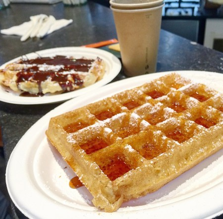 Mmmmmm Belgium Waffles. One chocolate, one caramel.