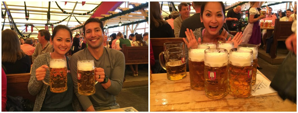 Left: Our first steins of the day! Right: Diem clearly happy to start drinking :)