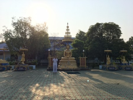 Outdoor buddha statues and meditation section