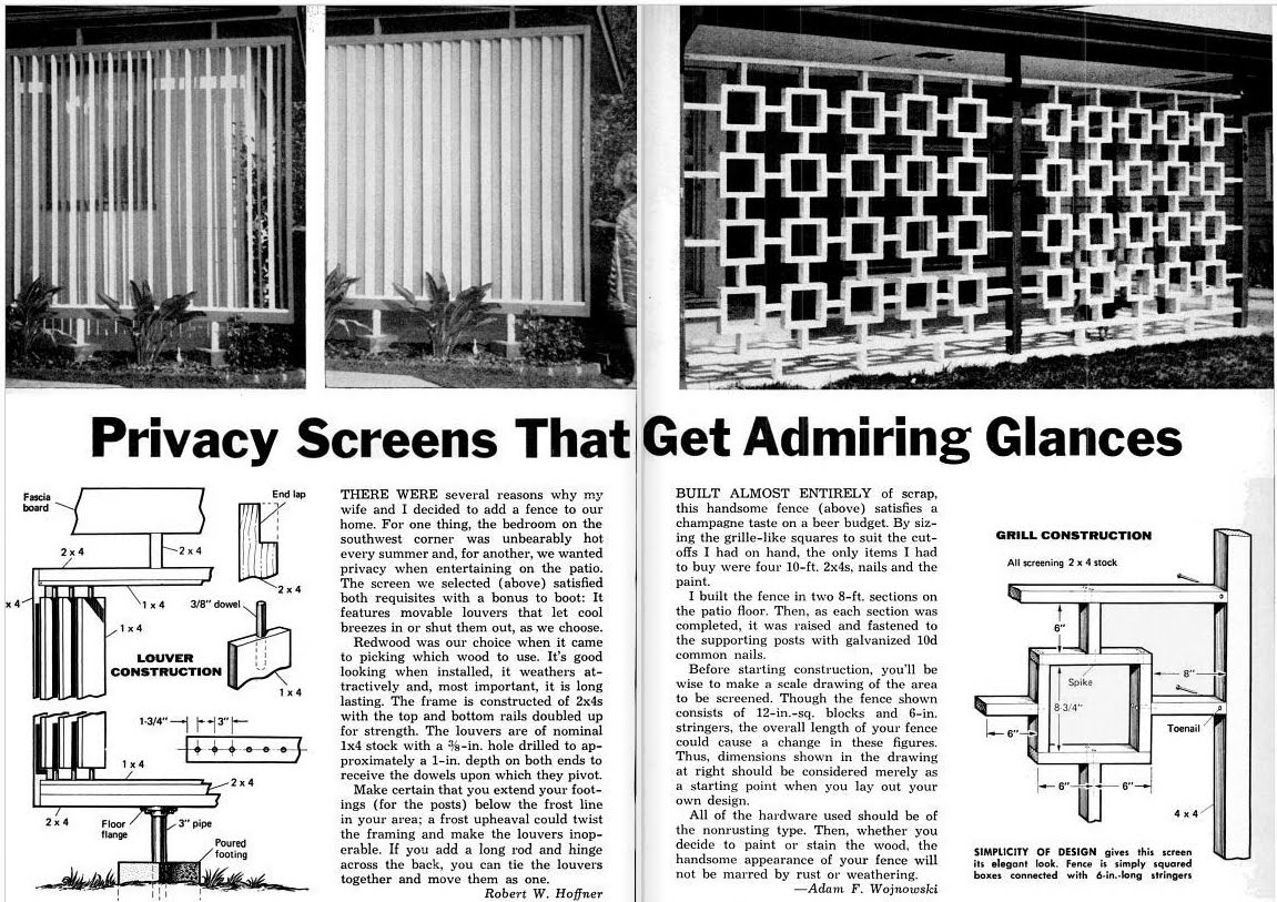 Wood Privacy Screens Mid Century Living