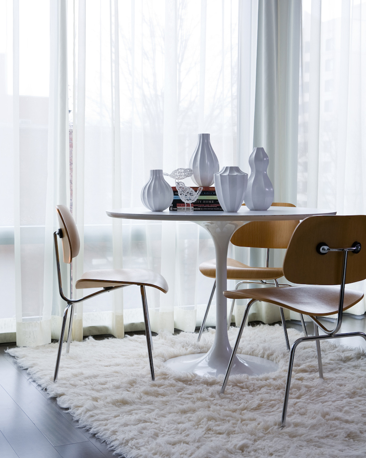 Saarinen Tulip Table and Eames DCM Chairs  The Mid