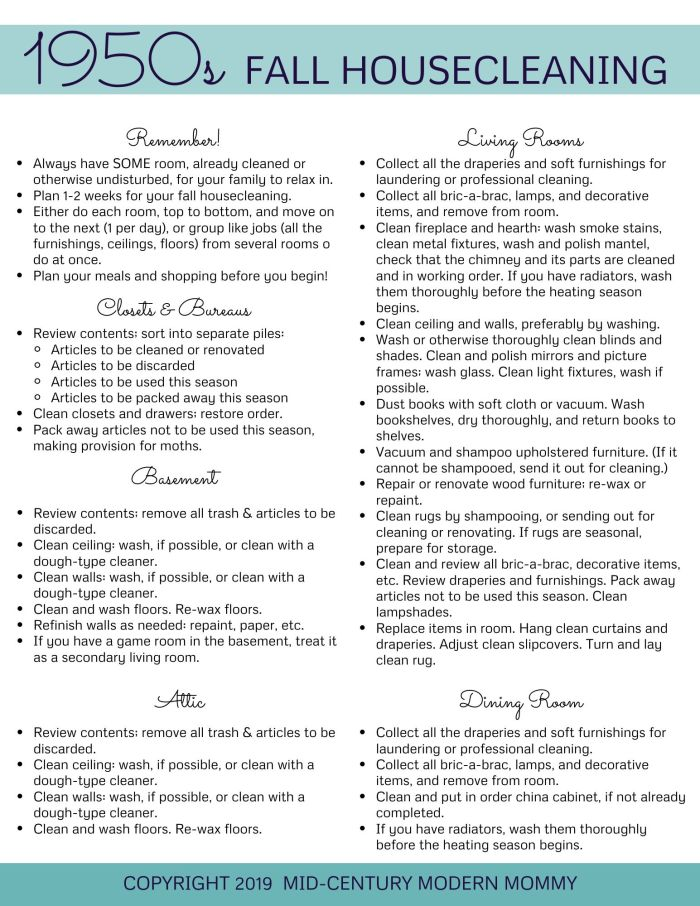 The 1950s Fall Housecleaning Routine by Mid-Century Modern Mommy, page 1