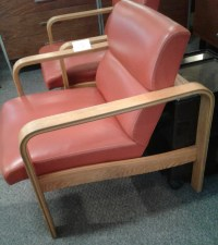 Pr. of Bentwood Oak Upholstered Chairs - Mid Century Plus
