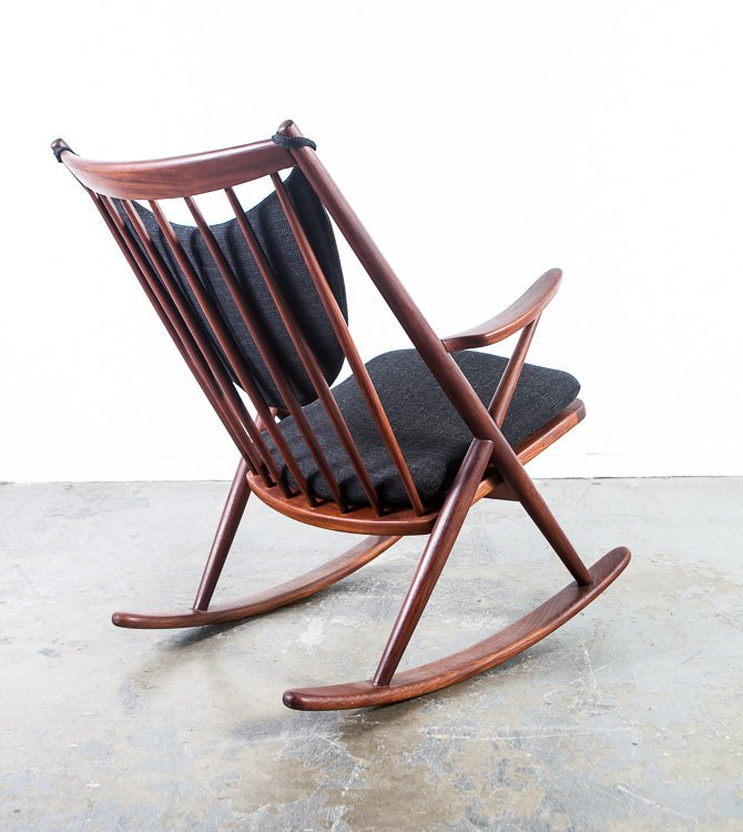 danish modern rocking chair car in steel express mid century frank sacramento reenskaug bramin solid teak wood rocker black tweed restored