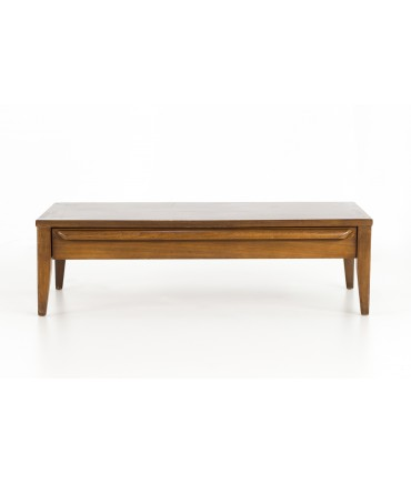 lane mid century modern small low walnut coffee table