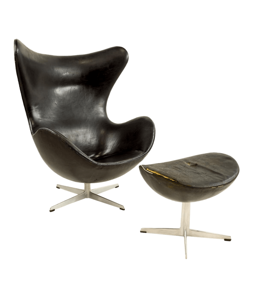 Leather Chairs With Ottoman Original 1960s Leather Egg Chair Ottoman Designed By Arne Jacobsen For Fritz Hansen