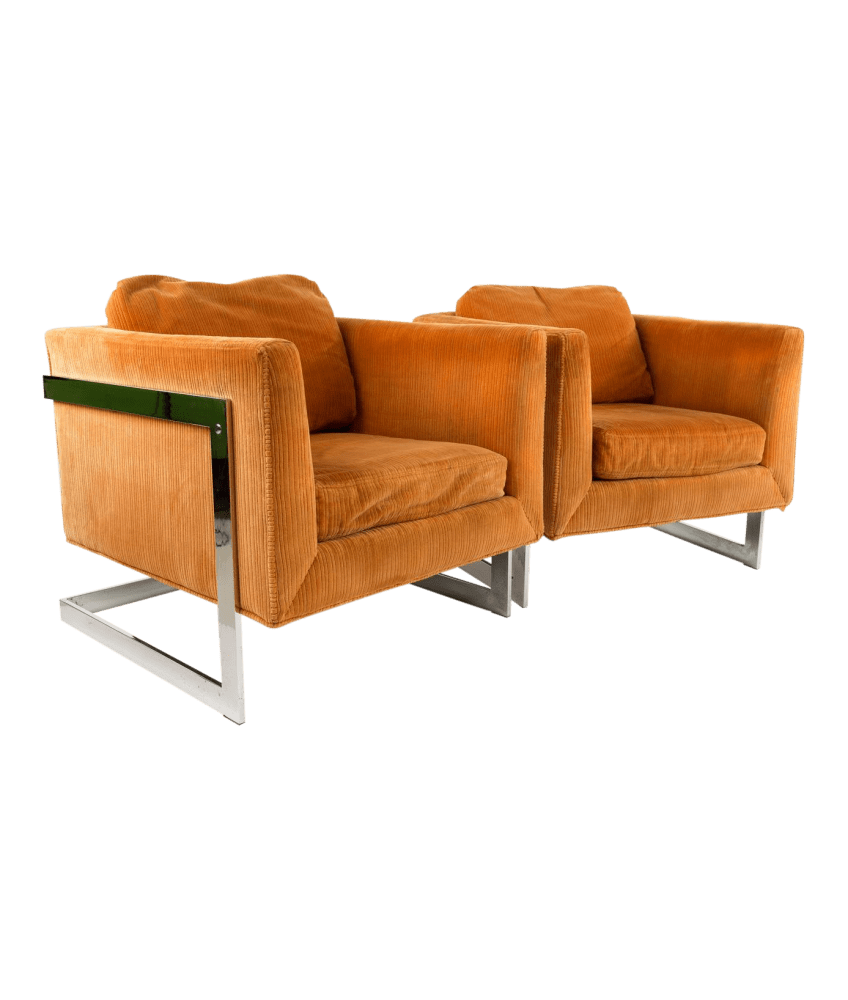 Cube Chairs Milo Baughman Style Mid Century Cube Chairs With Chrome Frame Matching Pair