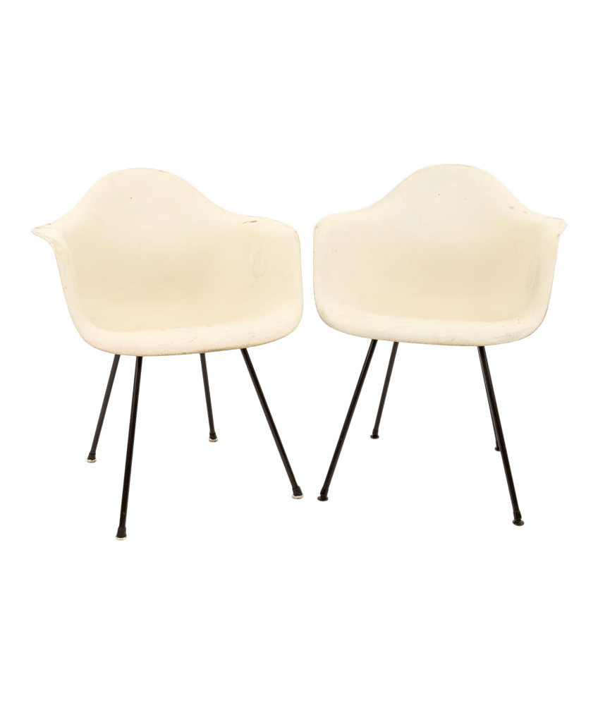 Herman Miller Shell Chair Eames For Herman Miller Molded Plastic X Base Shell Chairs Pair