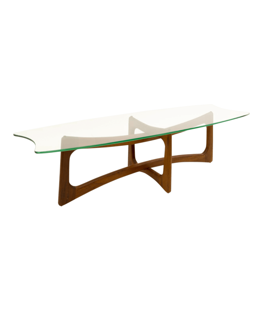 adrian pearsall mid century modern ribbon coffee table with stingray glass top