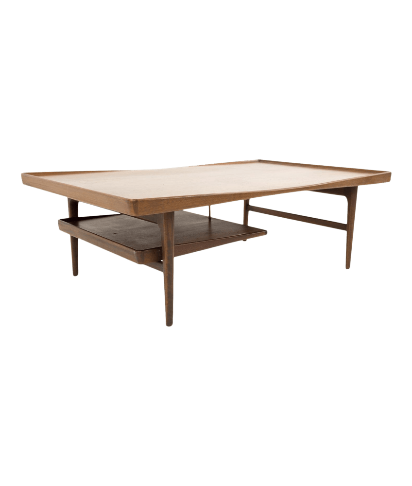 poul jensen for selig teak mid century modern coffee table with floating tray