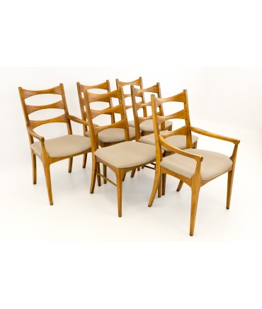 ladderback dining chairs office sitting lane rhythm mid century set of 6