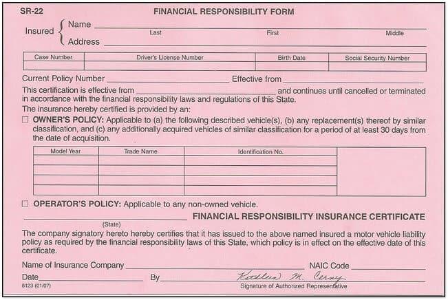 SR22 Insurance Filing Washington