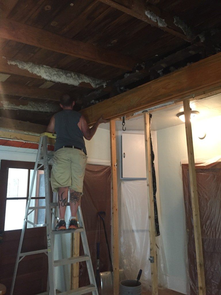Installing the Beam: Kitchen Remodel & Structural Wall Removal