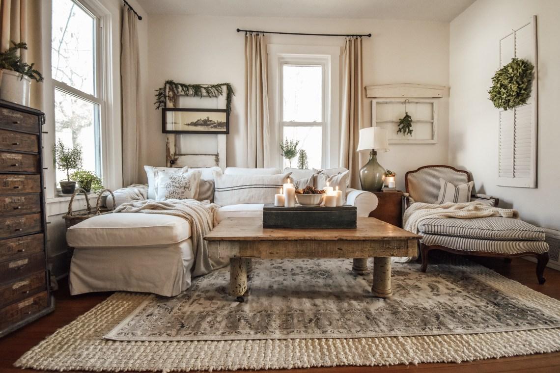 Cozy Neutral Christmas Living Room