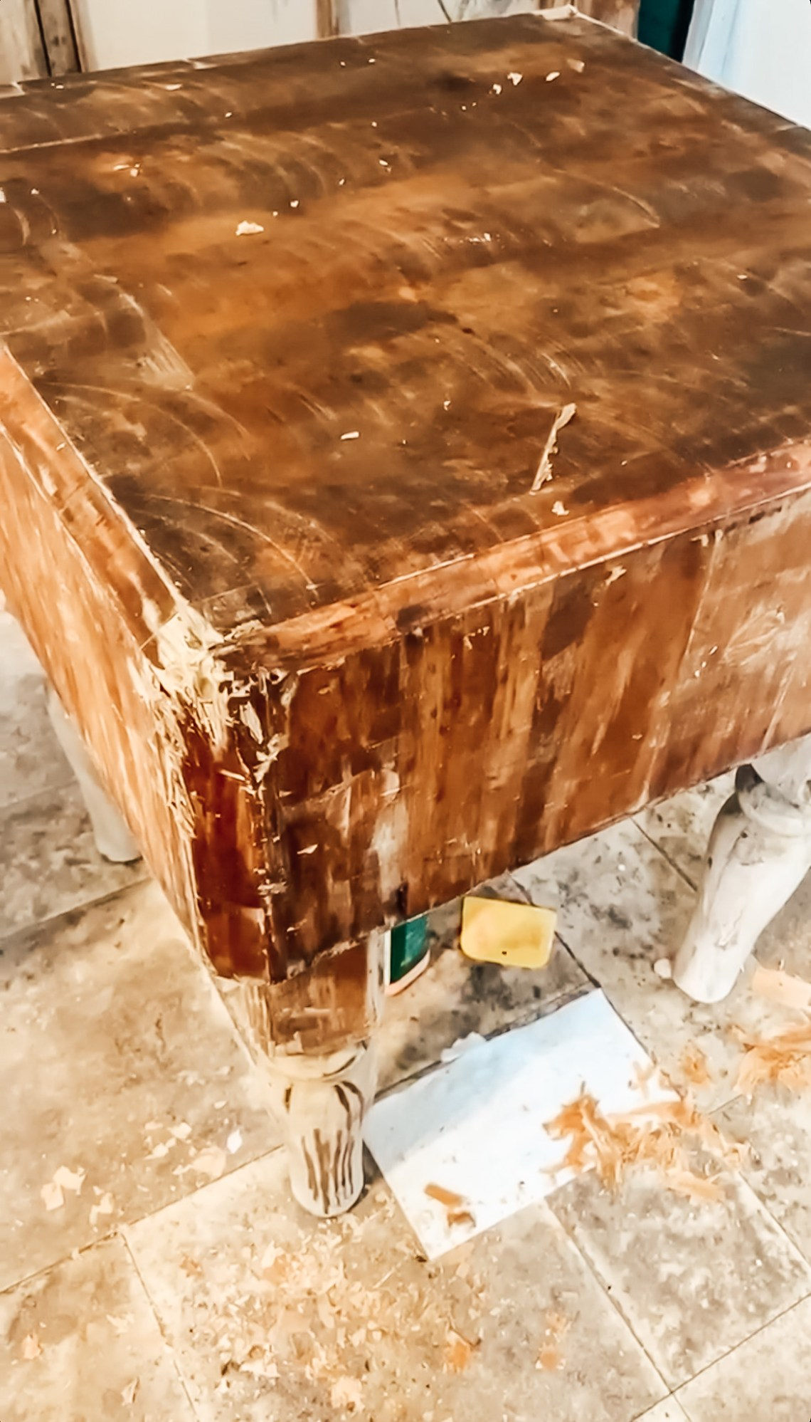 Stripping a Vintage Butcher Block during