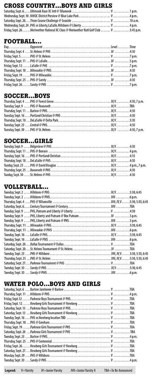 September 2014 Parkrose High School Athletic Schedule