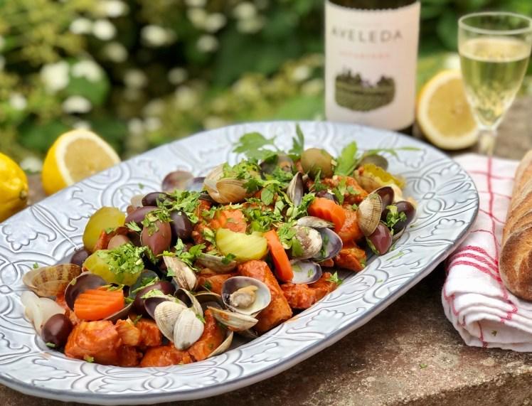 Fläskkött med musslor Carne de porco com ameijoas
