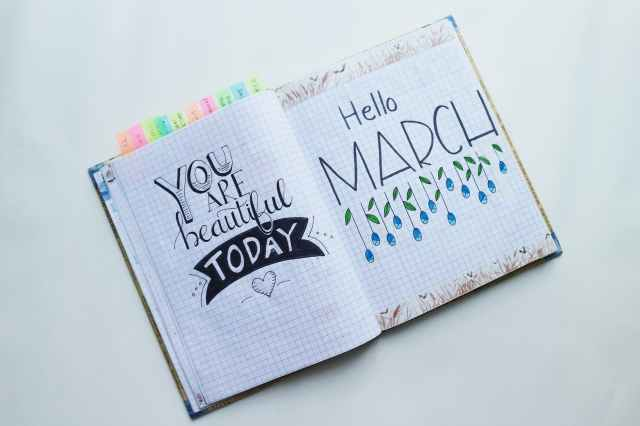 book page with hello march text