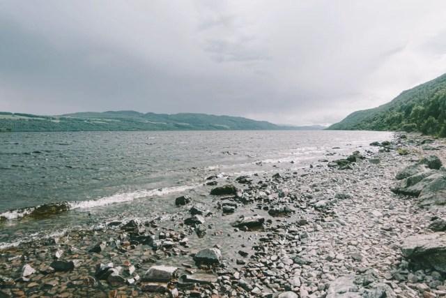 stony coast near rippling river