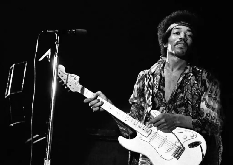 DENMARK - SEPTEMBER 03: Photo of Jimi Hendrix 10; Jimi Hendrix KB-Hallen Copenhagen September 3 1970 (Photo by Jan Persson/Redferns)